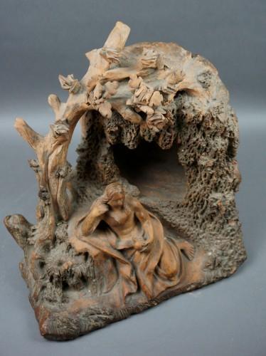 Antiquités - 17th Century Baroque Penitent Magdelene Terra Cotta Sculpture