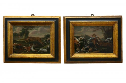 Hunting scene with dogs - Flemish school of the 17th century