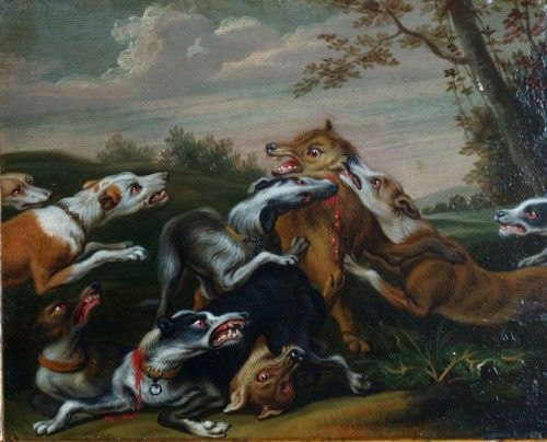 Hunting scene with dogs - Flemish school of the 17th century - Paintings & Drawings Style Louis XIV