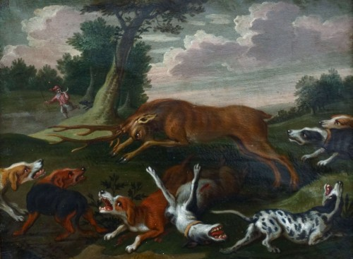 Paintings & Drawings  - Hunting scene with dogs - Flemish school of the 17th century