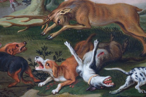 17th century - Hunting scene with dogs - Flemish school of the 17th century