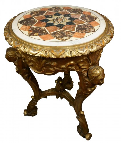 18th Century Italian Pietra Dura Giltwood Inlaid Table
