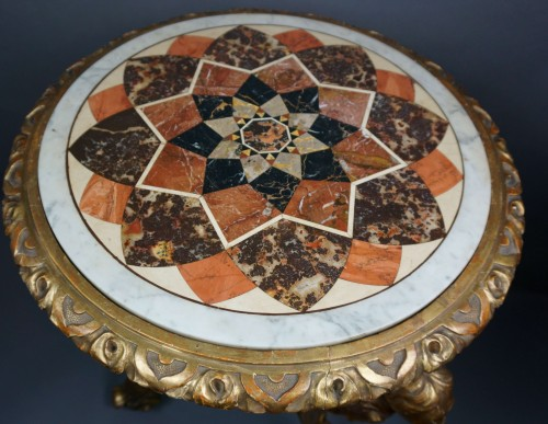 Furniture  - 18th Century Italian Pietra Dura Giltwood Inlaid Table