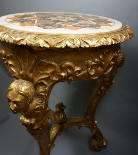 Antiquités - 18th Century Italian Pietra Dura Giltwood Inlaid Table