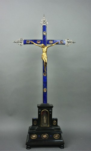 Cross Reliquary Gilt Bronze Lapis lazuli Italy 17th - Religious Antiques Style Louis XIV