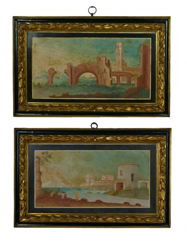 18th Century Italian Pair of Panels in Scagliola, Landscape and Ruin