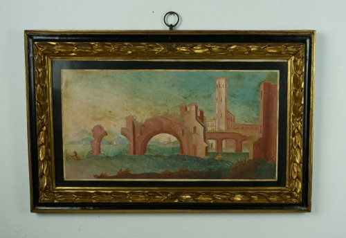 18th Century Italian Pair of Panels in Scagliola, Landscape and Ruin - Decorative Objects Style