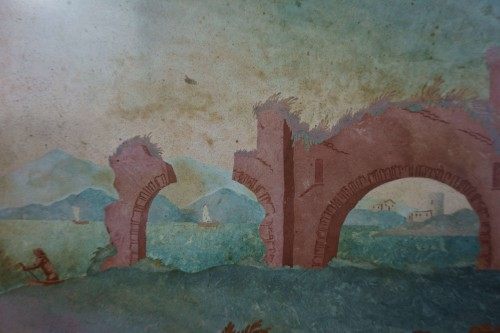 18th Century Italian Pair of Panels in Scagliola, Landscape and Ruin -