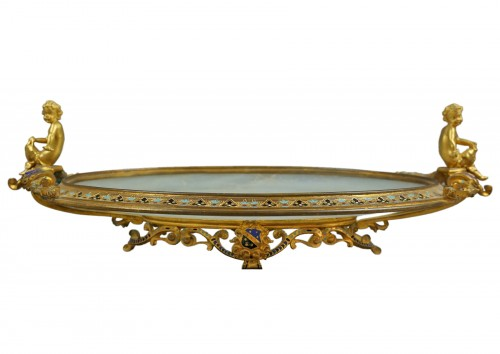 19th C. French Champleve Enamel Centerpiece