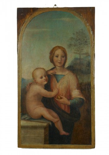 "16th Century ""Virgin And Child"", Tempera On Panel, Tuscan School"
