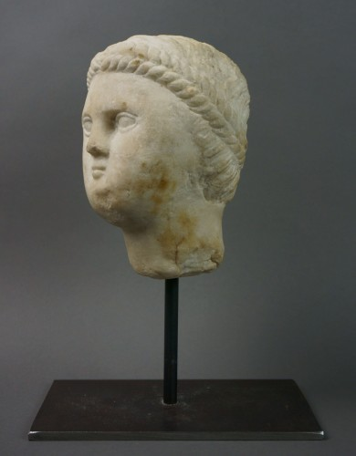 7th-8th century, Early Middle Ages, Italian Lombard Marble Head  - Sculpture Style Middle age