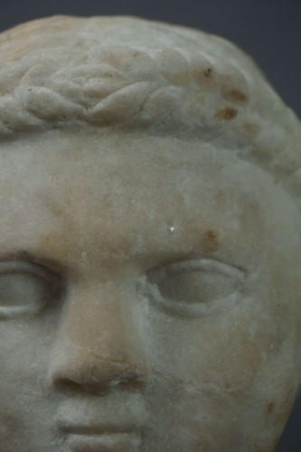 7th-8th century, Early Middle Ages, Italian Lombard Marble Head  -