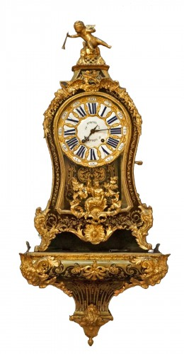 18th Century Regency Boulle Marquetry Cartel Clock Fortin Signed
