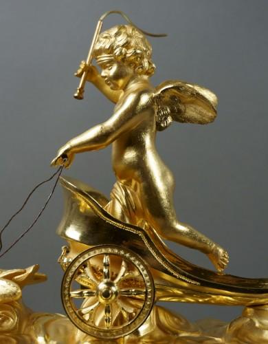 19th Century Empire period gilt bronze vase mantel clock with char of love  -