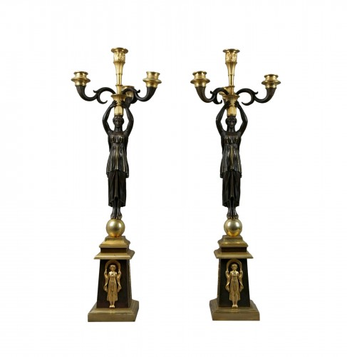 Pair of Empire gilt bronze ormolu candelabra