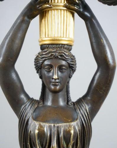 Lighting  - Pair of Empire gilt bronze ormolu candelabra