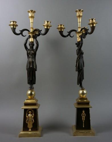 Pair of Empire gilt bronze ormolu candelabra -