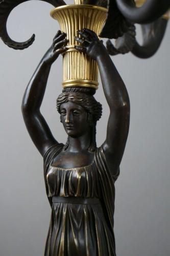 19th century - Pair of Empire gilt bronze ormolu candelabra