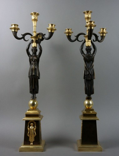 Pair of Empire gilt bronze ormolu candelabra - Empire