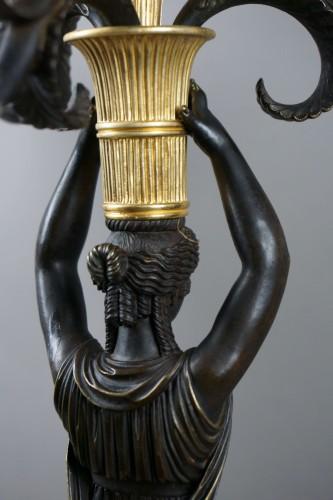 Empire - Pair of Empire gilt bronze ormolu candelabra