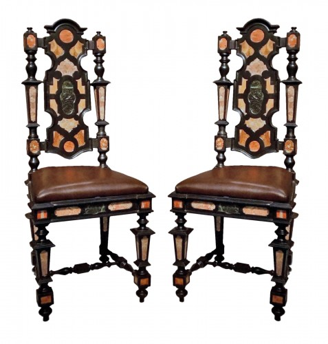 Pair of Pietra Dura Marquetry Chairs, Florence, 19th C.