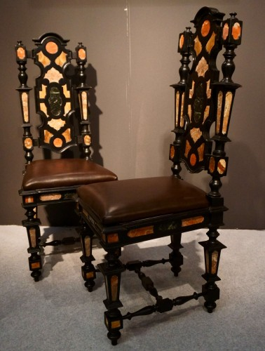 Pair of Pietra Dura Marquetry Chairs, Florence, 19th C. - Seating Style Napoléon III