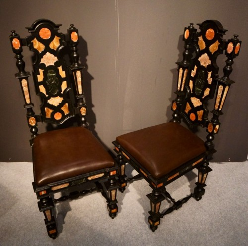 Seating  - Pair of Pietra Dura Marquetry Chairs, Florence, 19th C.