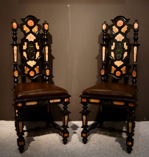 Antiquités - Pair of Pietra Dura Marquetry Chairs, Florence, 19th C.