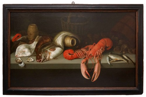 Alexander Adriassen, Still Life With Oysters, Fish And Lobsters 17th