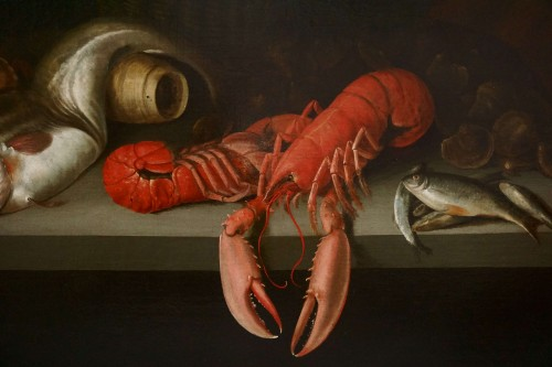 Alexander Adriassen, Still Life With Oysters, Fish And Lobsters 17th - Paintings & Drawings Style Louis XIII