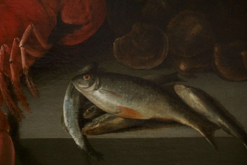 Alexander Adriassen, Still Life With Oysters, Fish And Lobsters 17th -