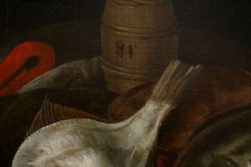 Alexander Adriassen, Still Life With Oysters, Fish And Lobsters 17th - Louis XIII