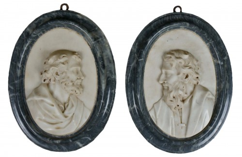 Pair of 17th Century Roman Baroque Sculpture Marble Medallions