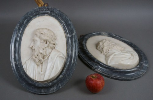 Pair of 17th Century Roman Baroque Sculpture Marble Medallions -