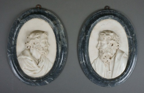 Antiquités - Pair of 17th Century Roman Baroque Sculpture Marble Medallions