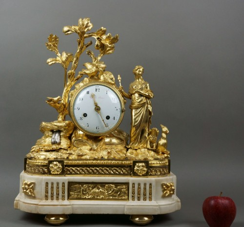 Clocks  - Imposing Allegorical Louis XVI Period Ormolu Bronze Mantel Clock