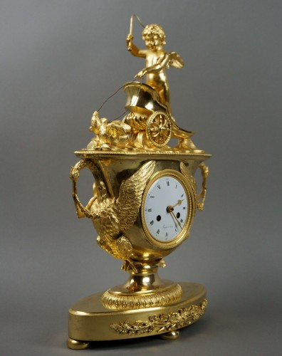Clocks  - 19th Century Empire period Gilt Bronze Vase Mantel Clock with Char of Love