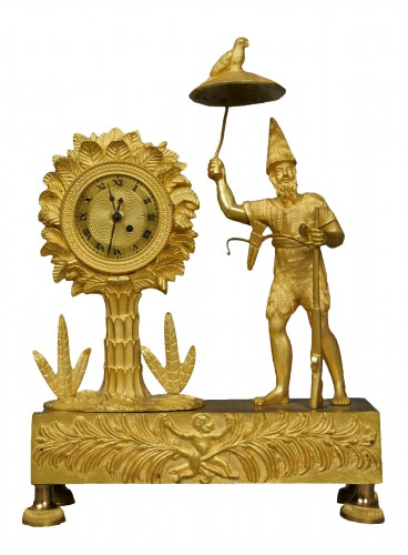 Au Bon Sauvage Series Ormolu Gilt Bronze Empire Mantel Clock Lépine