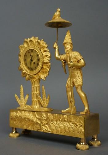 Au Bon Sauvage Series Ormolu Gilt Bronze Empire Mantel Clock Lépine - Clocks Style Empire