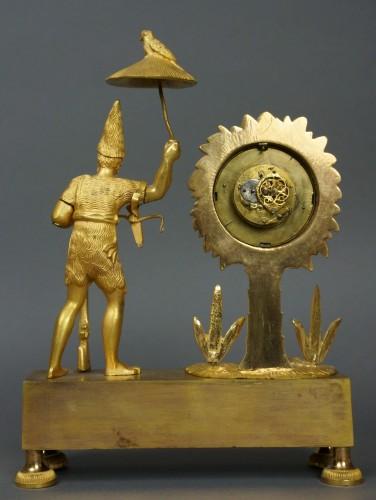 Au Bon Sauvage Series Ormolu Gilt Bronze Empire Mantel Clock Lépine -