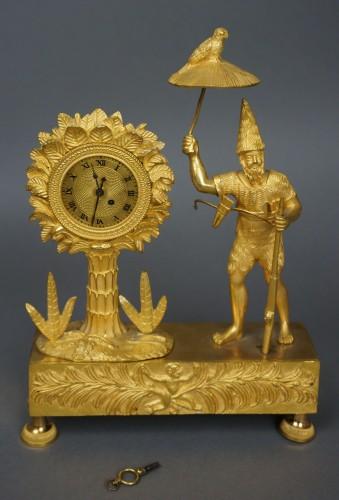 19th century - Au Bon Sauvage Series Ormolu Gilt Bronze Empire Mantel Clock Lépine