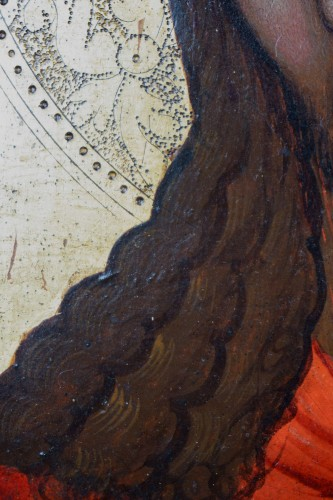 16th century Veneto-Cretan Master, Nymphios, Tempera on Gilt Panel -