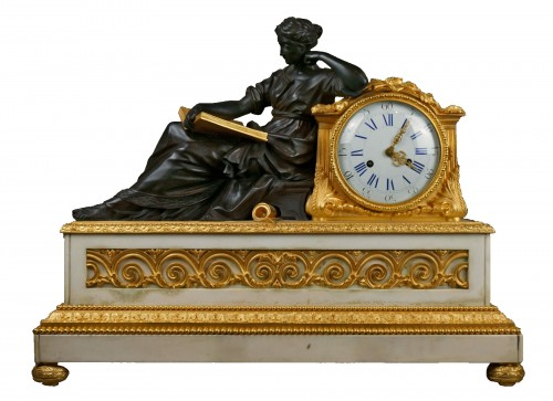 Early 19th Century Imposing Bronze à la Geoffrin Clock Henri Picard