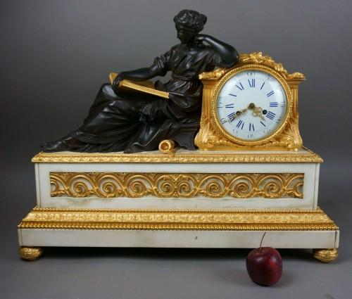 Louis-Philippe - Early 19th Century Imposing Bronze à la Geoffrin Clock Henri Picard