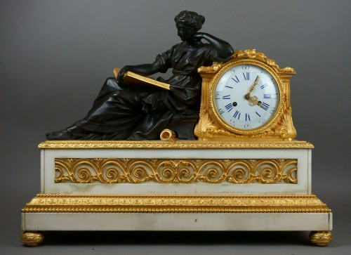 Antiquités - Early 19th Century Imposing Bronze à la Geoffrin Clock Henri Picard