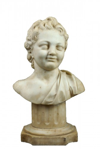 17th Century, Italian Baroque Marble Bust Portrait Of Boy
