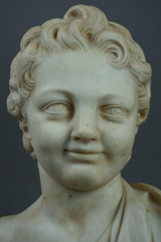 17th century - 17th Century, Italian Baroque Marble Bust Portrait Of Boy