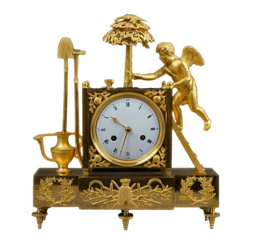 19th C. French Empire Gilt Bronze Ormolu Mantel Clock