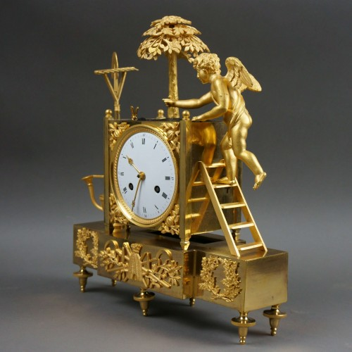 19th C. French Empire Gilt Bronze Ormolu Mantel Clock - Clocks Style Empire