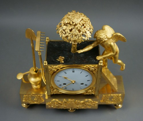 Empire - 19th C. French Empire Gilt Bronze Ormolu Mantel Clock
